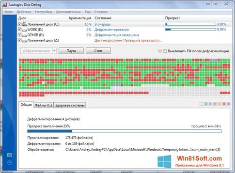 Скриншот программы Auslogics Disk Defrag для Windows 8.1