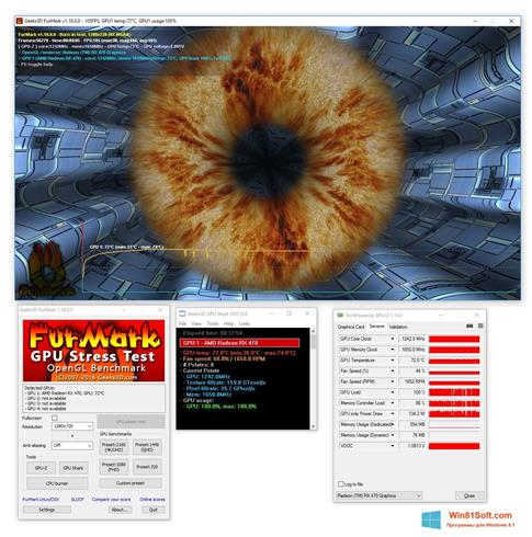 Скриншот программы FurMark для Windows 8.1