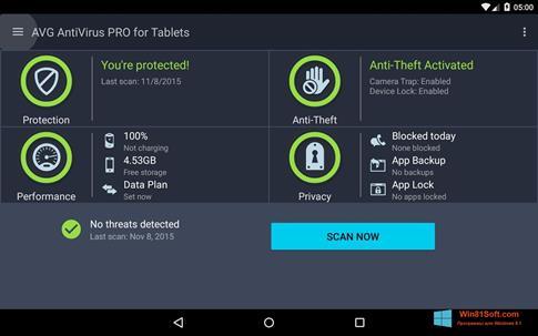 Скриншот программы AVG AntiVirus Pro для Windows 8.1
