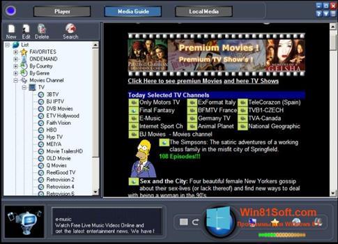 Скриншот программы Online TV Live для Windows 8.1