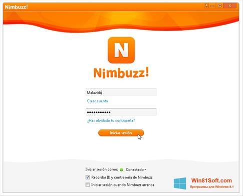 Скриншот программы Nimbuzz для Windows 8.1