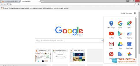 Скриншот программы Google Chrome для Windows 8.1