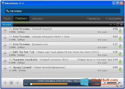 Скриншот программы VKAudioSaver для Windows 8.1