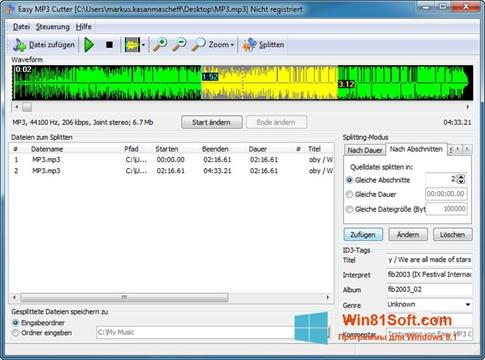 Скриншот программы MP3 Cutter для Windows 8.1