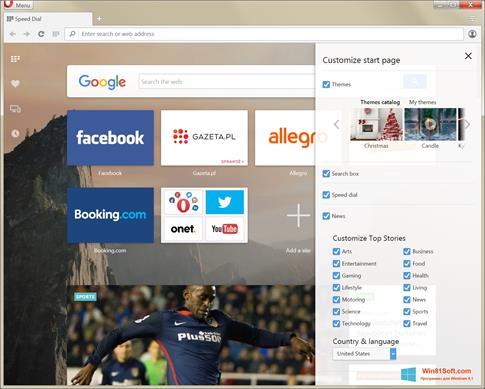 Скриншот программы Opera Developer для Windows 8.1