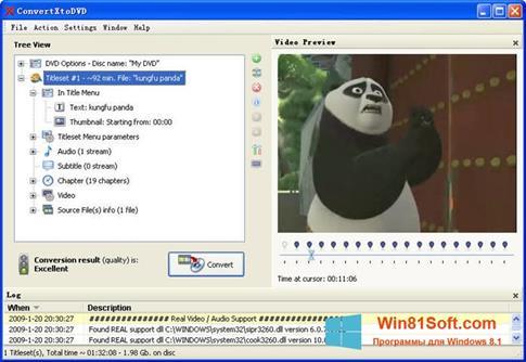 Скриншот программы ConvertXToDVD для Windows 8.1