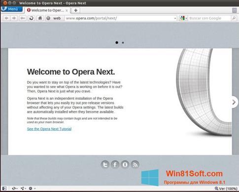 Скриншот программы Opera Next для Windows 8.1