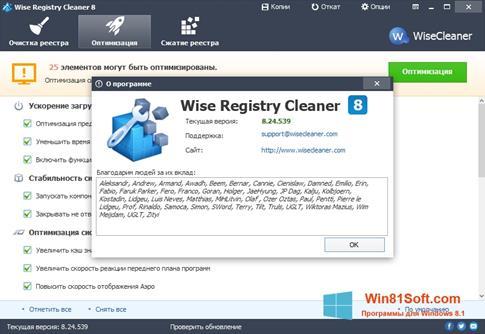 Скриншот программы Wise Registry Cleaner для Windows 8.1