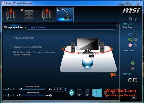 Скриншот программы Realtek Audio Driver для Windows 8.1