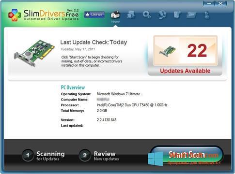 Скриншот программы SlimDrivers для Windows 8.1