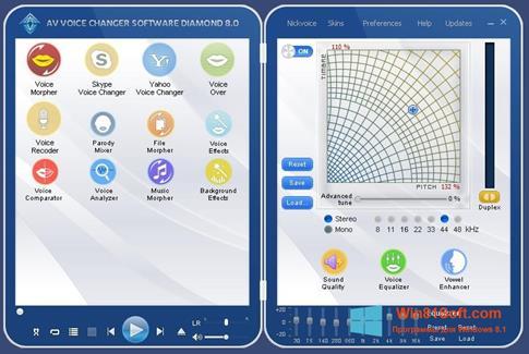 Скриншот программы AV Voice Changer Diamond для Windows 8.1