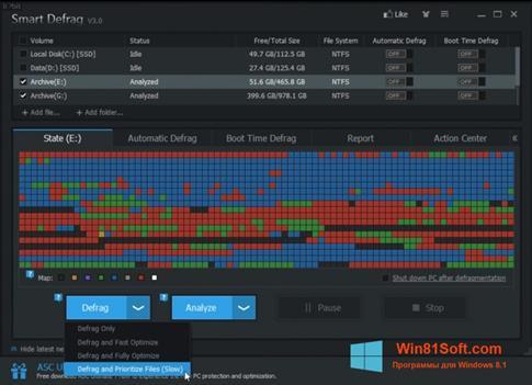 Скриншот программы Smart Defrag для Windows 8.1