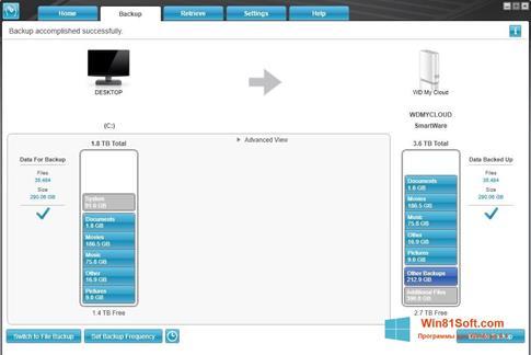 Скриншот программы WD SmartWare для Windows 8.1