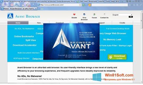 Скриншот программы Avant Browser для Windows 8.1