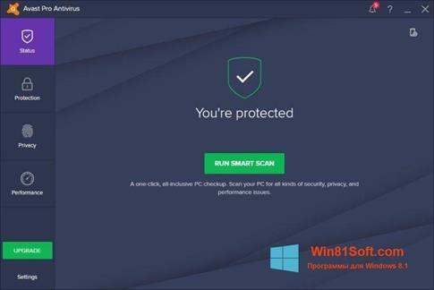 Скриншот программы Avast! Pro Antivirus для Windows 8.1