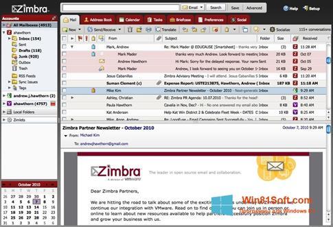 Скриншот программы Zimbra Desktop для Windows 8.1