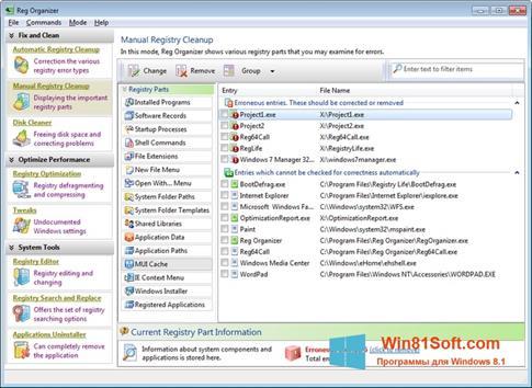 Скриншот программы Reg Organizer для Windows 8.1