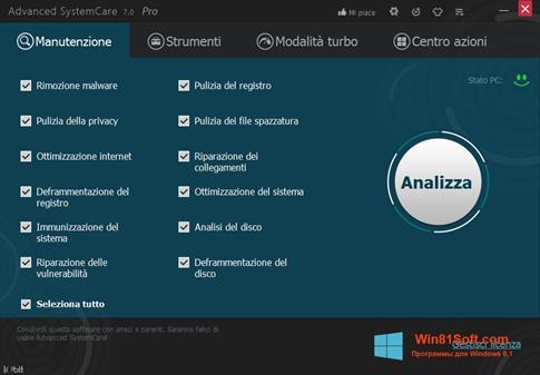Скриншот программы Advanced SystemCare PRO для Windows 8.1