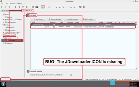 Скриншот программы JDownloader для Windows 8.1