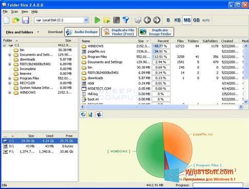 Скриншот программы Folder Size для Windows 8.1