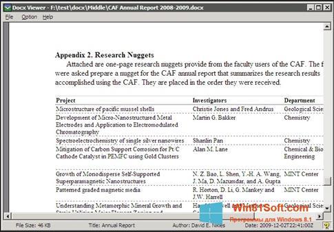Скриншот программы DocX Reader для Windows 8.1