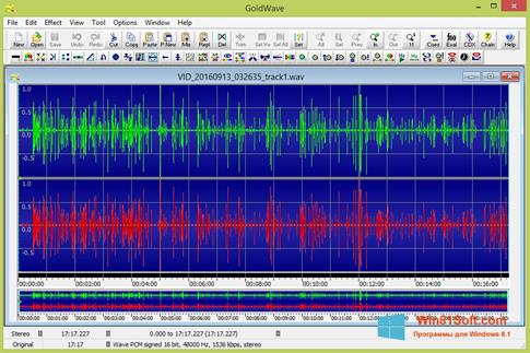 Скриншот программы GoldWave для Windows 8.1