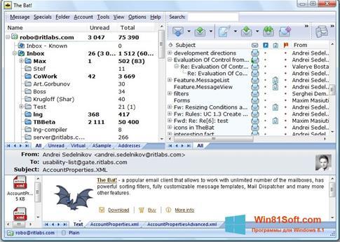 Скриншот программы The Bat! для Windows 8.1