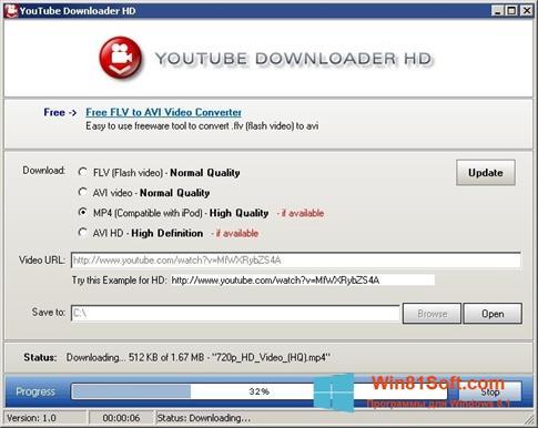 Скриншот программы Youtube Downloader HD для Windows 8.1